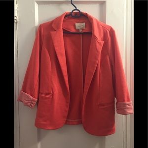 Melon Blazer with Ruched Striped Sleeves - NWOT!